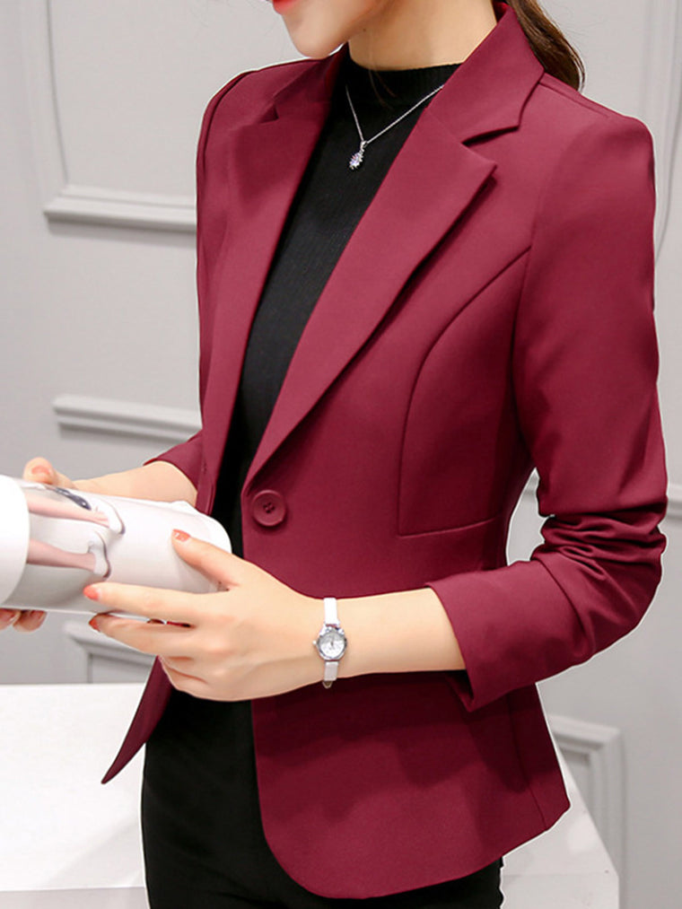 Buttoned Lapel Long Sleeve Office & Career Plain Elegant Blazers