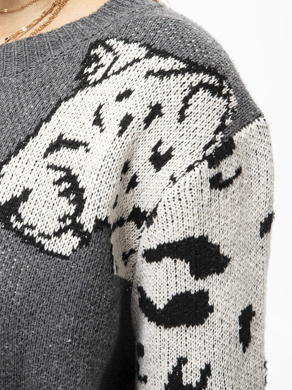 Plus Size Leopard Long Sleeve Casual Sweater