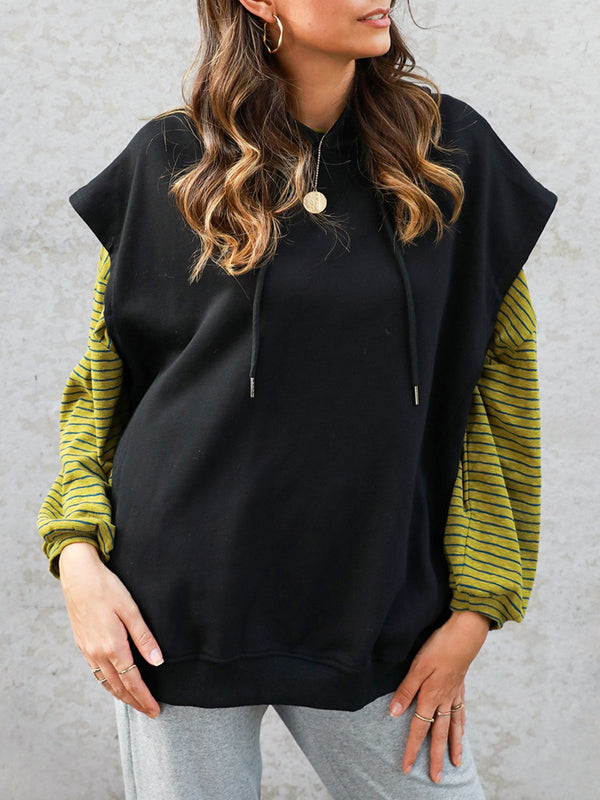 Plain Shift Drawstring Basic Sweatshirt