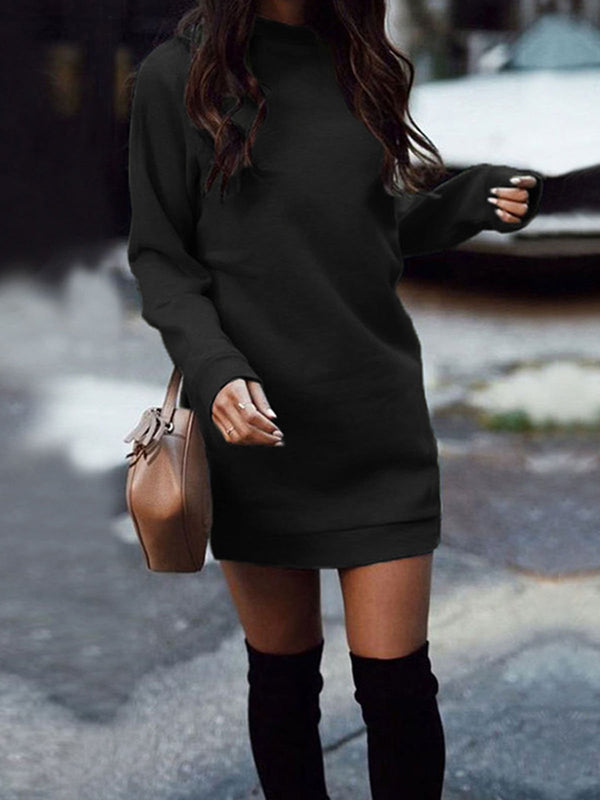 Solid Long Sleeve Round Neck Fall Dress