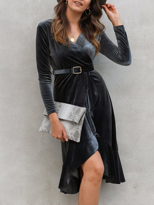 Shift Simple V Neck Dresses With Belt