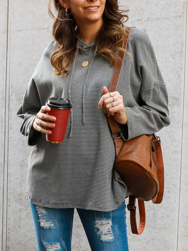 Striped Long Sleeve Hoodie Shirts & Tops