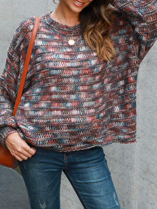 Sweet Long Sleeve Ombre/tie-Dye Shift Sweater