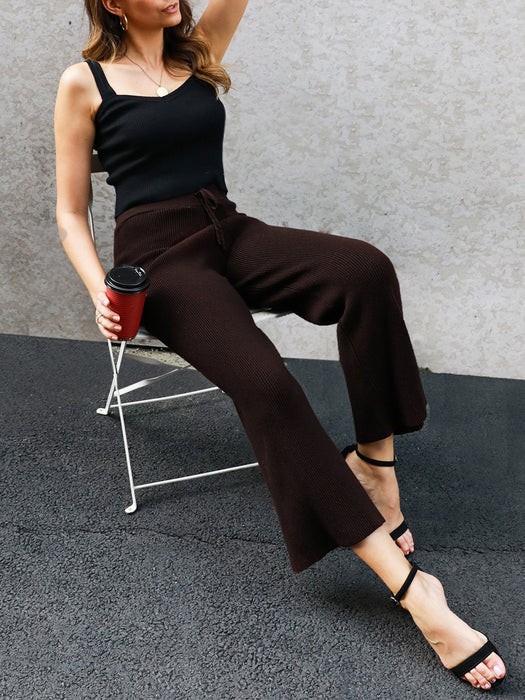 Cotton-Blend Knitted Casual Shift Pants