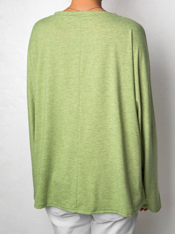 3/4 Sleeve V Neck Casual Tops