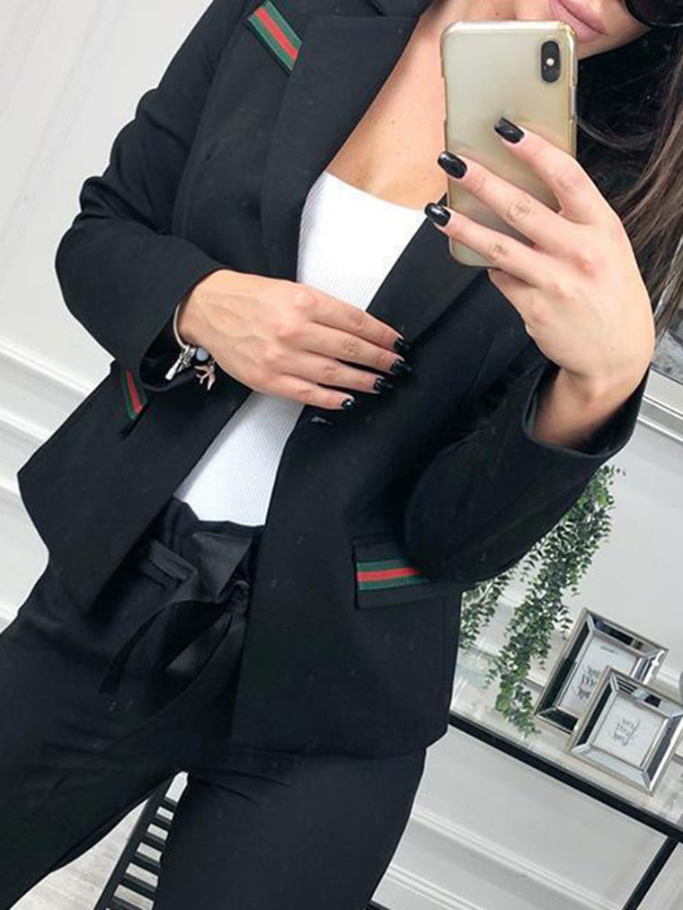 2018 Stylish Striped Lapel Single-Breasted Women's Boyfriend Blazers