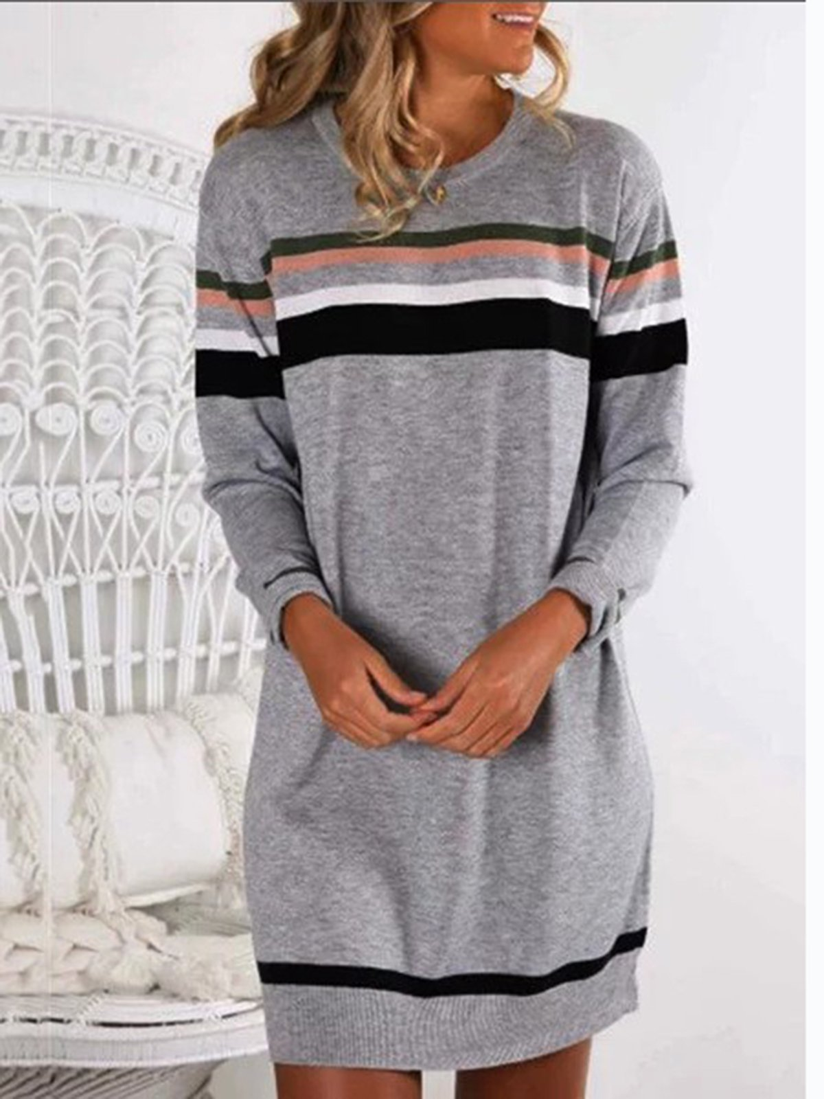 Gray Casual Crew Neck Shirts & Tops