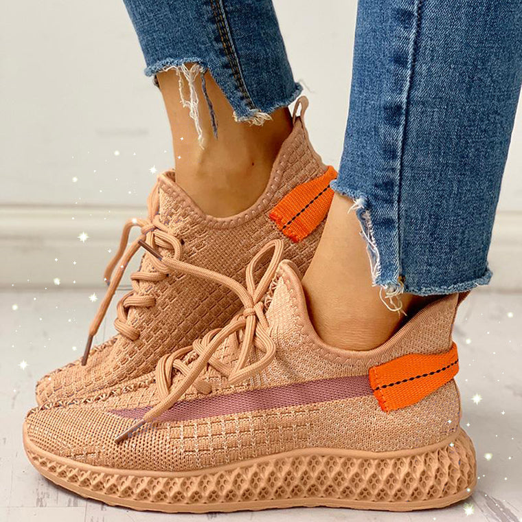 Color Block Lace-up Low Heel New Sneakers