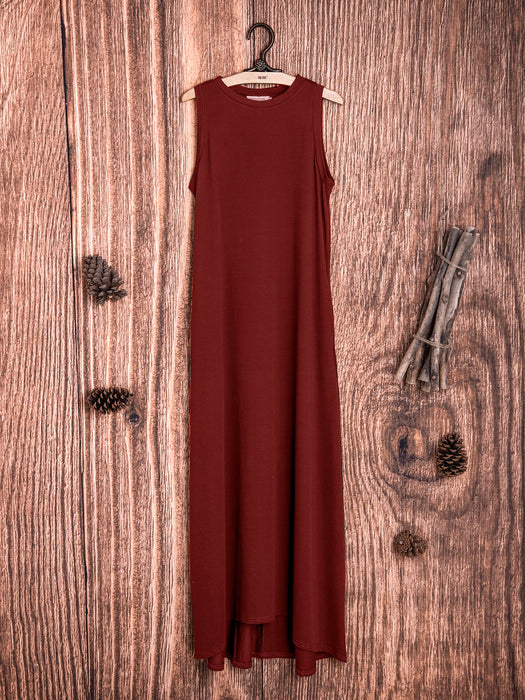 Crew Neck Solid Sleeveless Cotton-Blend Dresses