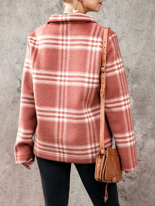 Casual Geometric Cashmere Shift Outerwear