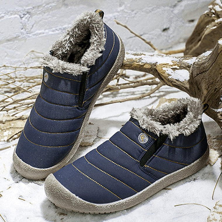 Plus Size Unisex Waterproof Shoes Fur Lining Slip On Snow Boots