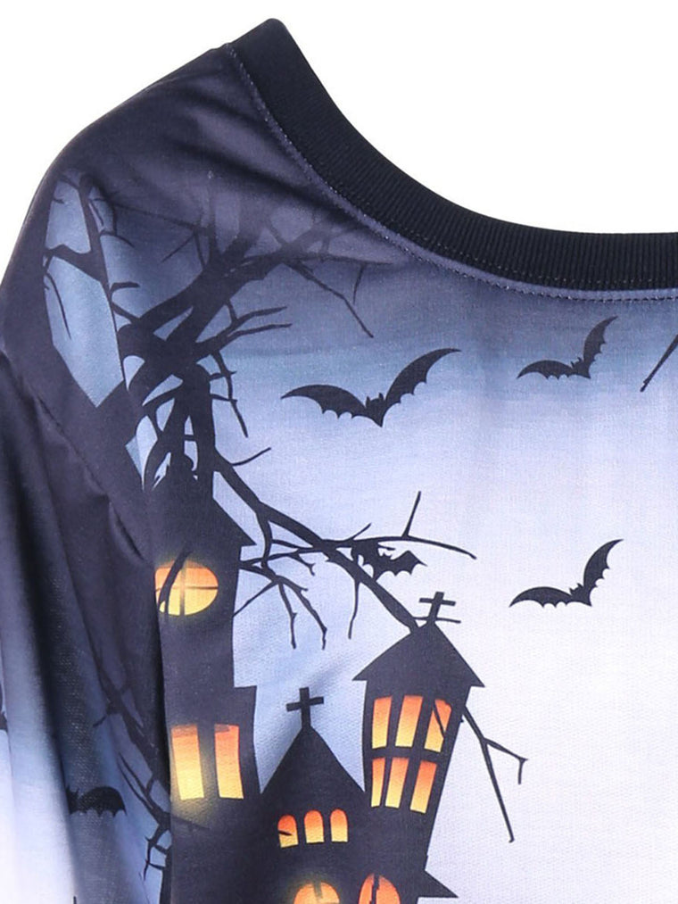 Halloween One Shoulder Printed Shift Casual Sweatshirt