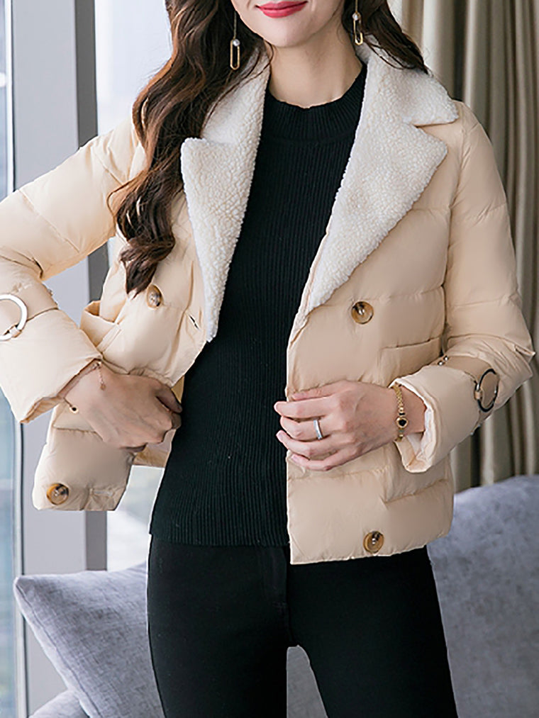 Winter Pockets Long Sleeve Buttoned Casual Coat