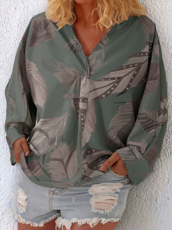 Plus Size Women Causal Tops Floral Printed Long Sleeve V Neck Shirts