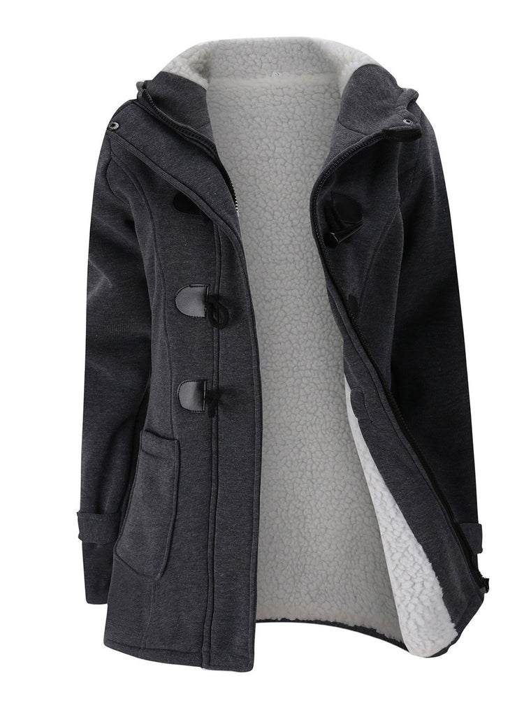 Women Horn Button Hooded Coat Coton Fleece Duffle Coat