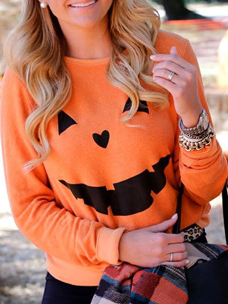 Halloween Pumpkin Printed Shift Casual Long Sleeve T-Shirt