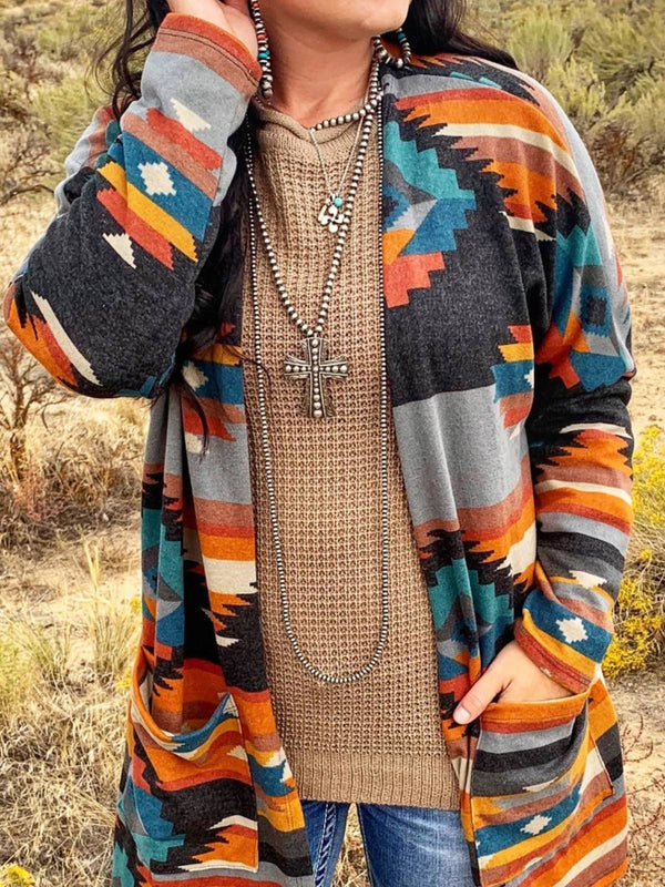 Blue Vintage Tribal Plus Size Cardigan