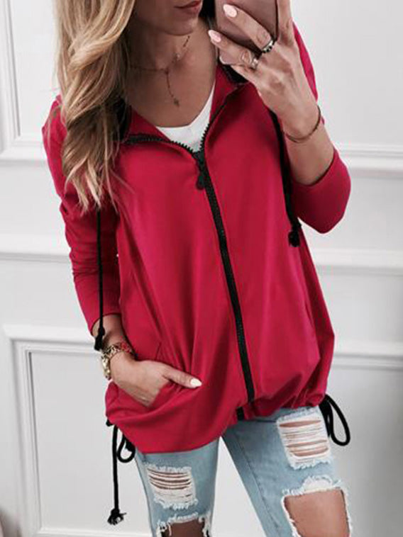 Casual Zipper Long Sleeve Drawstring Solid Coat