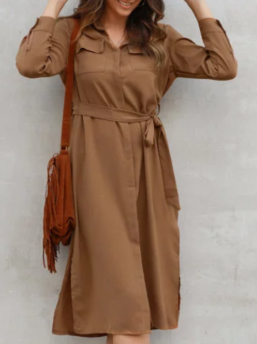 Casual Long Sleeve Pockets Shirt Collar Dresses