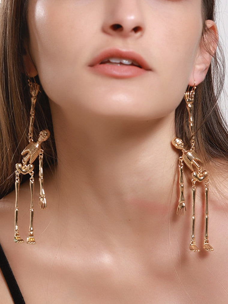 Women Halloween  Human Skeleton Alloy Drop Earrings