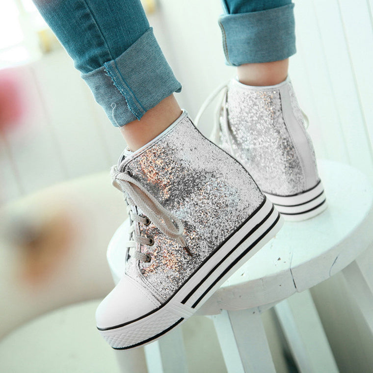 Women Lace-Up All Season Casual Pu Sequin Sneakers
