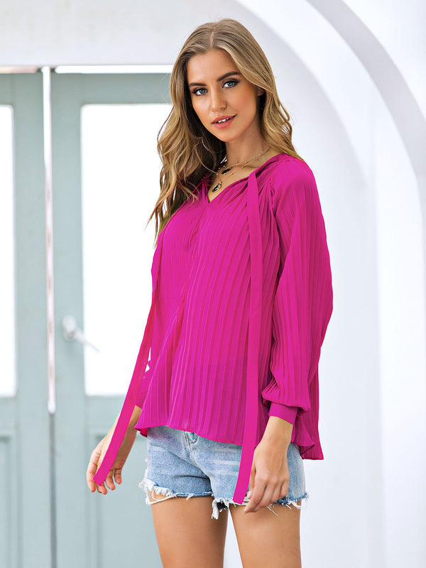 Solid Pleated Casual Balloon Sleeve Shirts & Tops