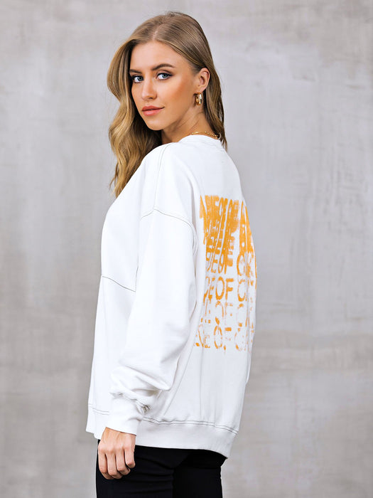 Crew Neck Casual Long Sleeve Shift Sweatshirt