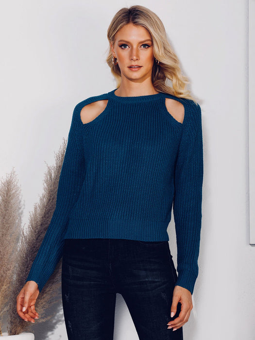 Cold Shoulder Solid Sweater