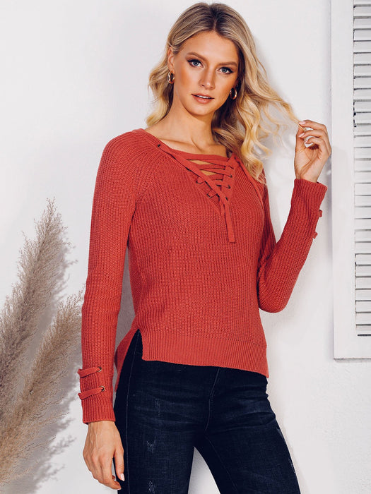 Shift Long Sleeve Casual V Neck Sweater