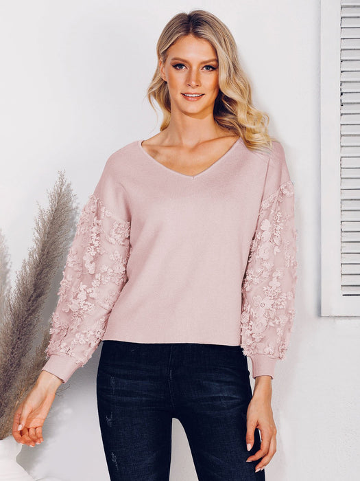 Floral Casual Paneled Sweater