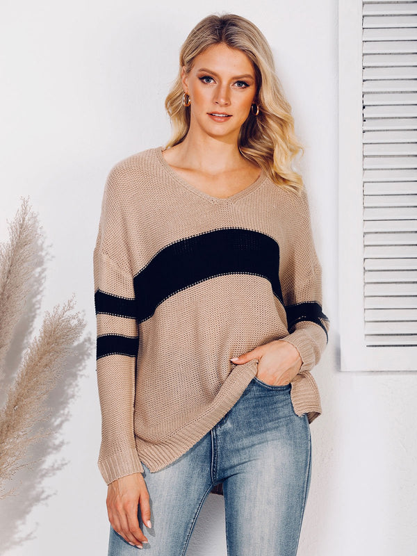 Shift Casual Long Sleeve V Neck Sweater
