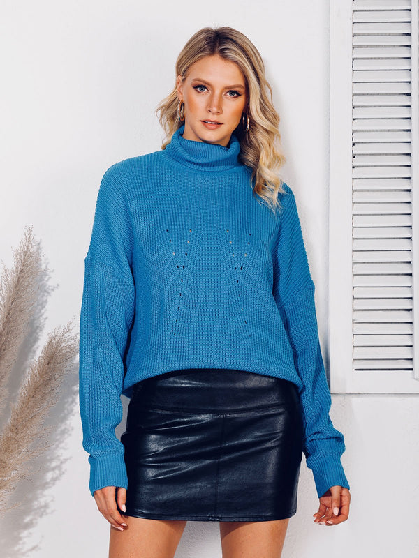 Eyelet Casual Turtleneck Sweater