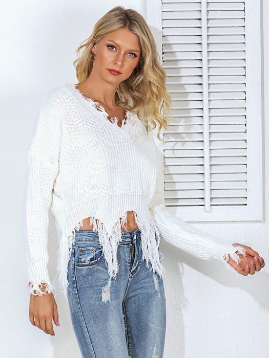 V Neck Casual Sweater