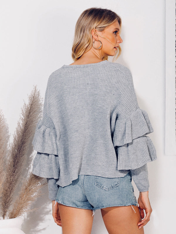 V Neck Shift Long Sleeve Tiered Sweater