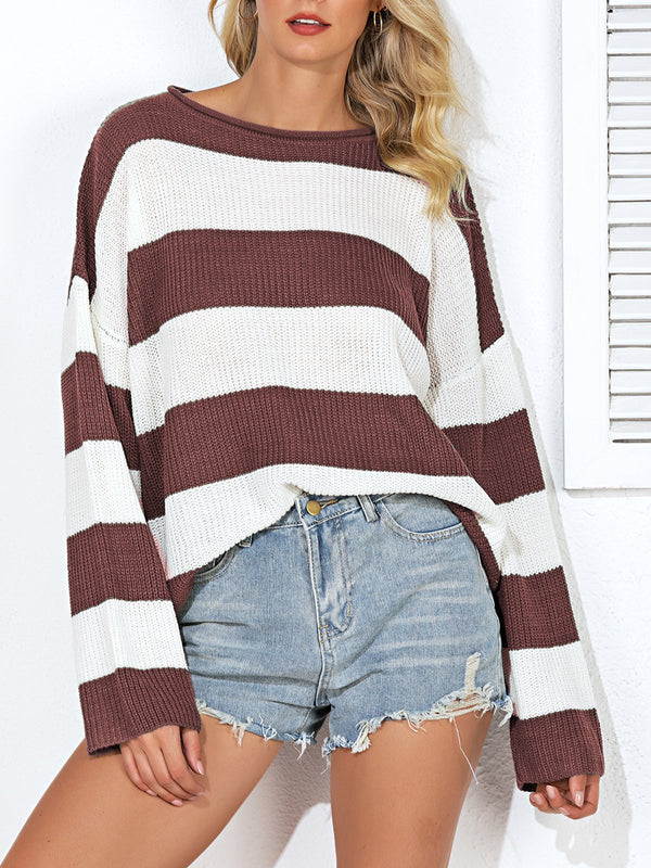 Casual Long Sleeve Paneled Striped Sweater
