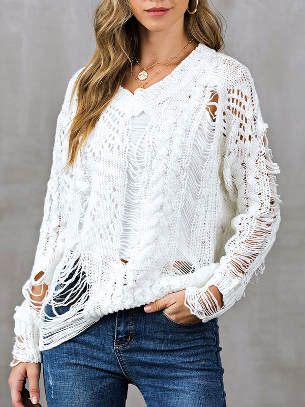Long Sleeve Ripped Sweater