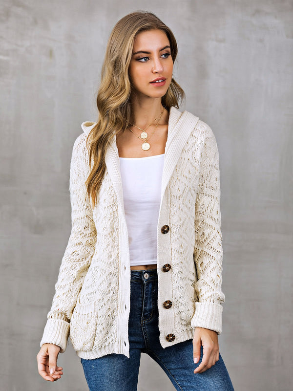 Buttoned Solid Casual Shift Sweater