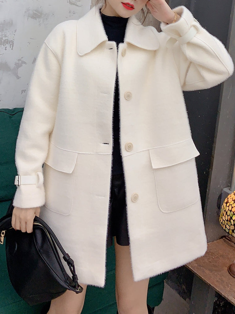 Angora-Blend Long Sleeve Pockets Coats