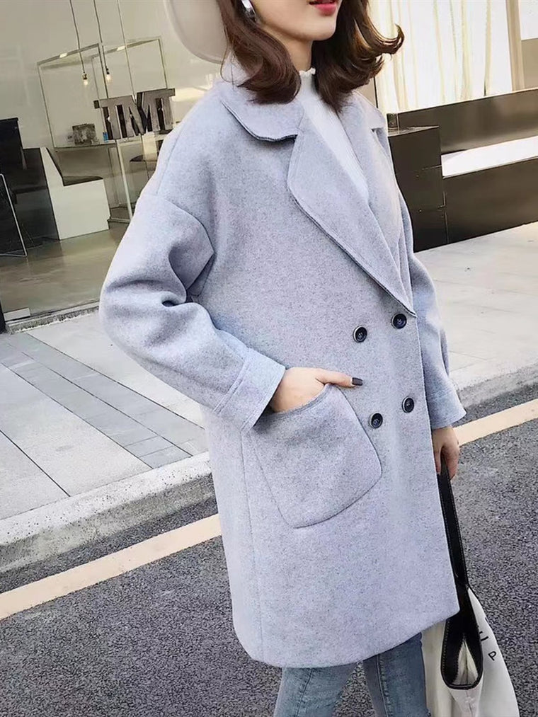 Wool Casual Pockets Coats
