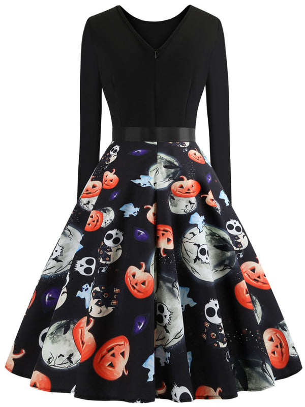 Halloween Polka Dots Crew Neck Paneled Long Sleeve Dress