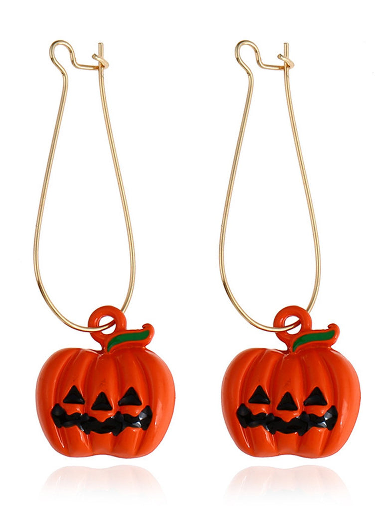 Women Halloween Pumpkin Drop Earrings
