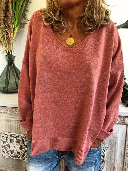 Knitted Long Sleeve Casual Plus Size Sweater