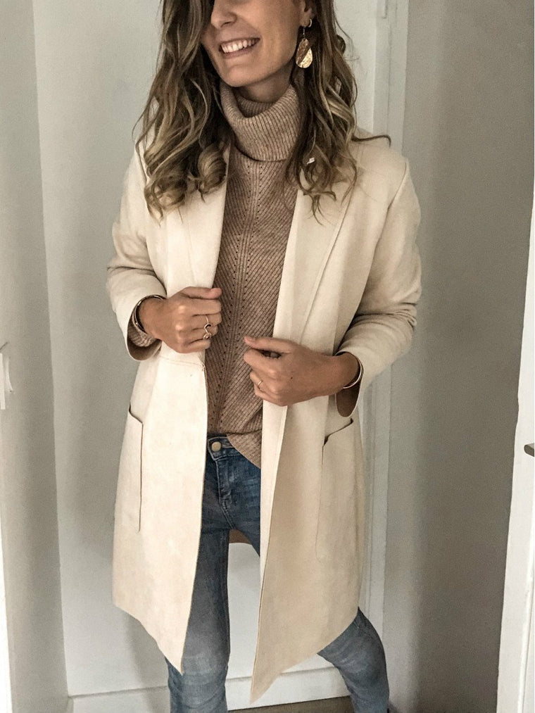 Beige Casual Shawl Collar Cotton Outerwear