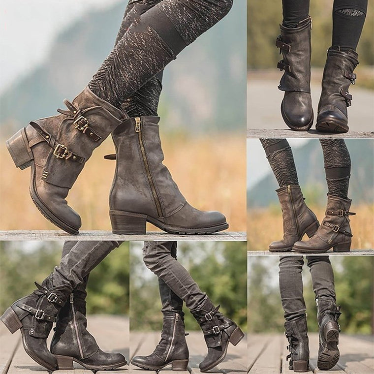 Women's Vintage Boots Buckle Chunky Heel Boots (Plus Size)