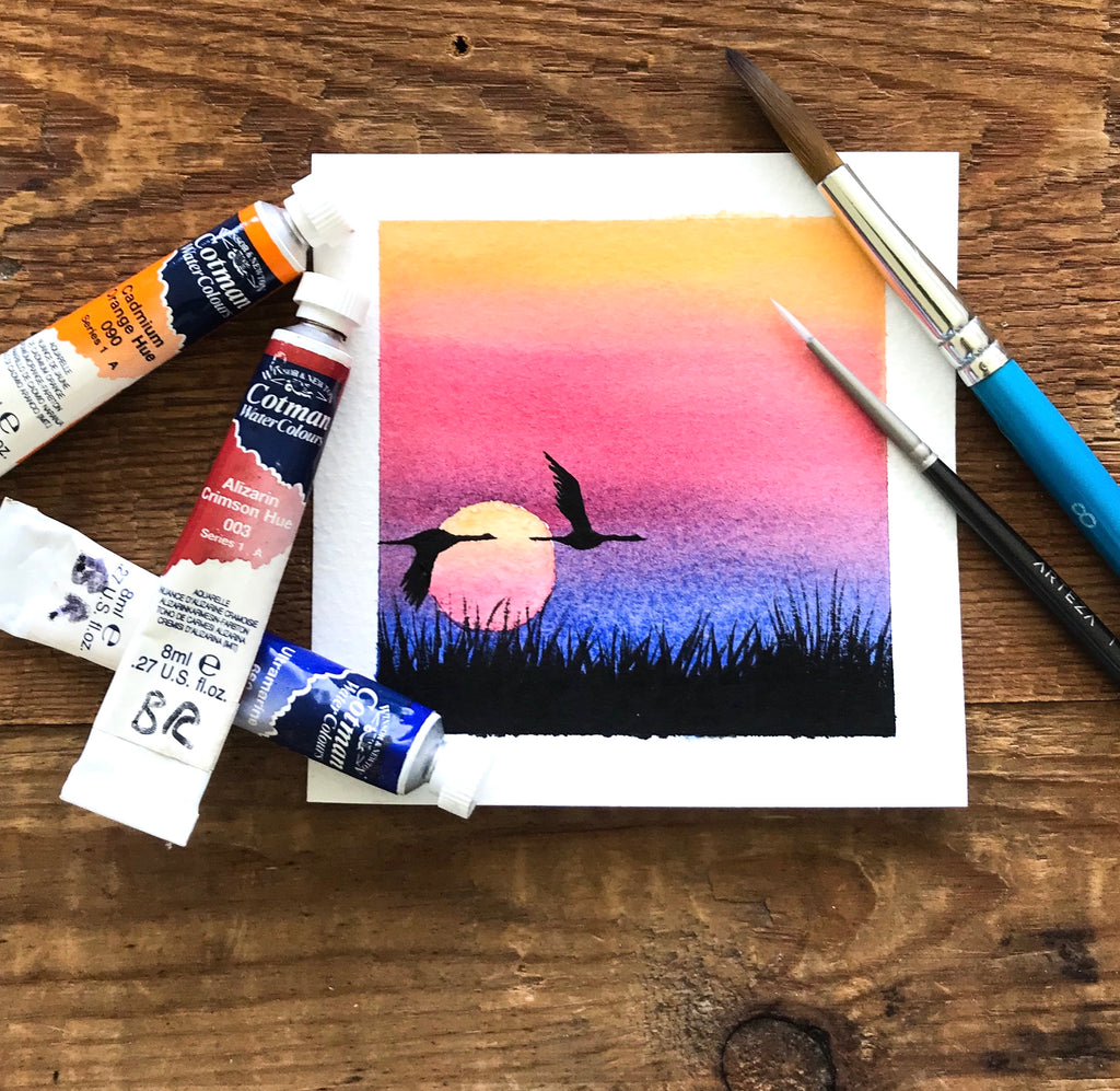 Watercolour sunset