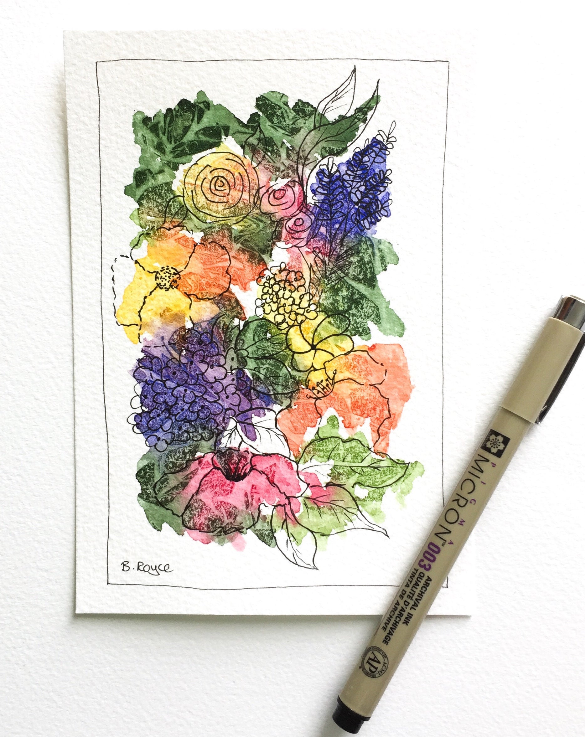 Abstract flowers with ink