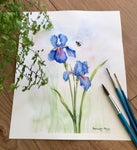 Irises and bumblebee - SOLD