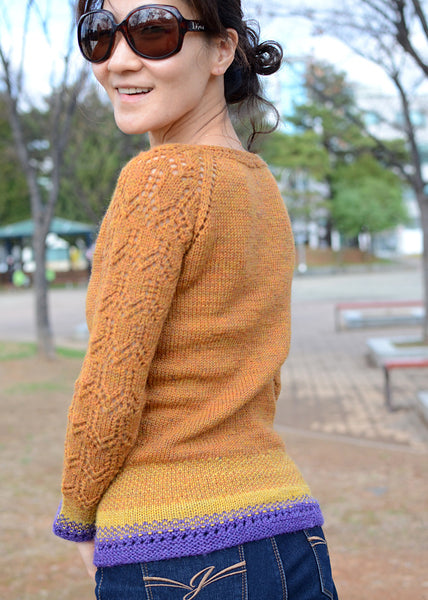 boatneck pullover knitting pattern by Drops Design: added fair isle