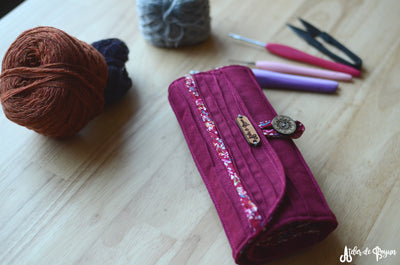 crochet roll in burgundy red