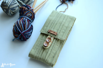 DPN Knitting Needle Case Accordion Style in Green Pea